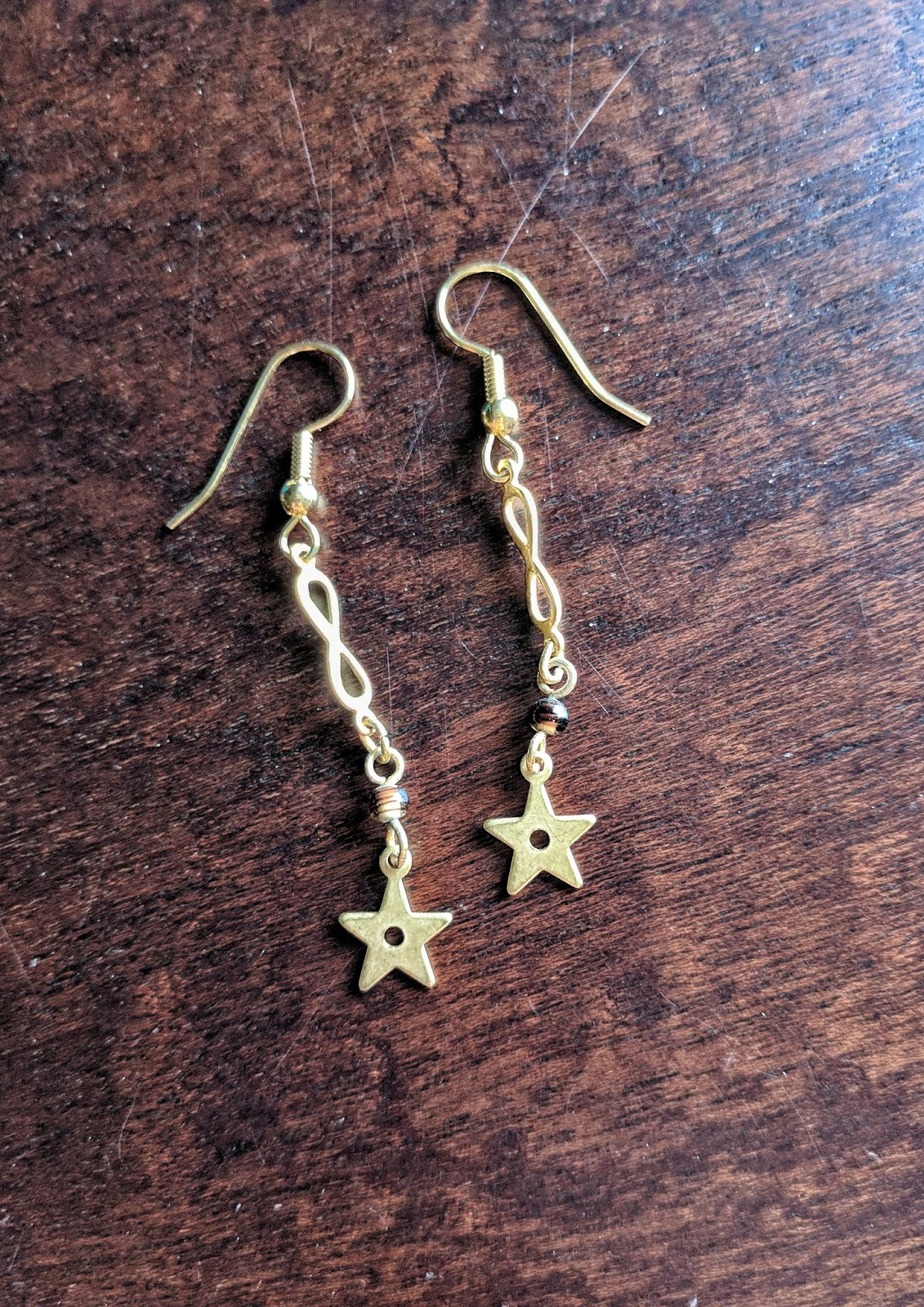 Vintage star infinity earrings three monkeys Portland or Oregon Nob Hill Alphabet District earring design jewelry