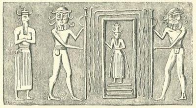 Imagen del dios sumerio Enki que sale a la Tierra por el abismo profundo o puerta estelar