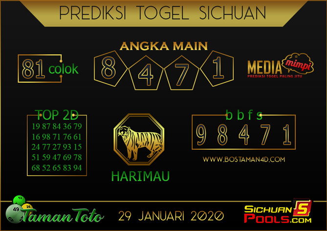 Prediksi Togel SICHUAN TAMAN TOTO 29 JANUARI 2020
