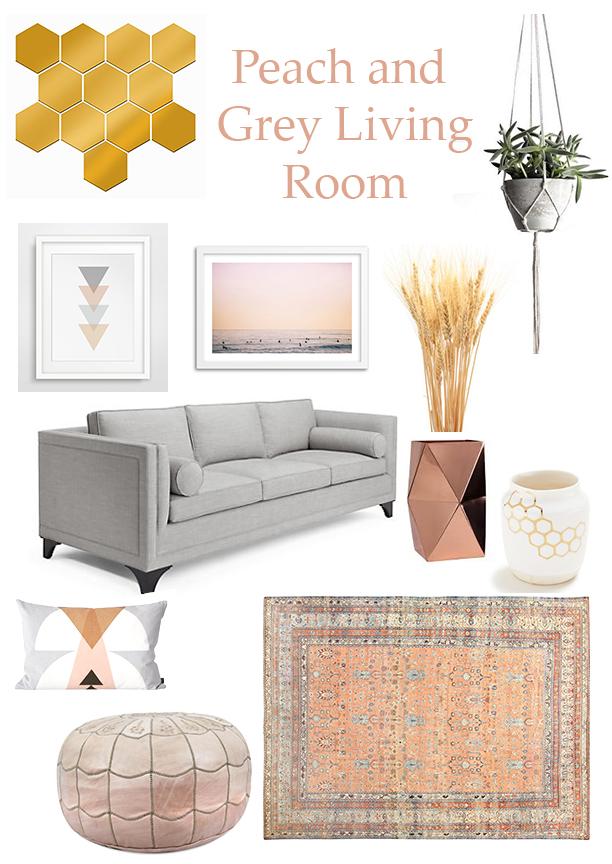 Nest Studio: Peach & Grey Living Room