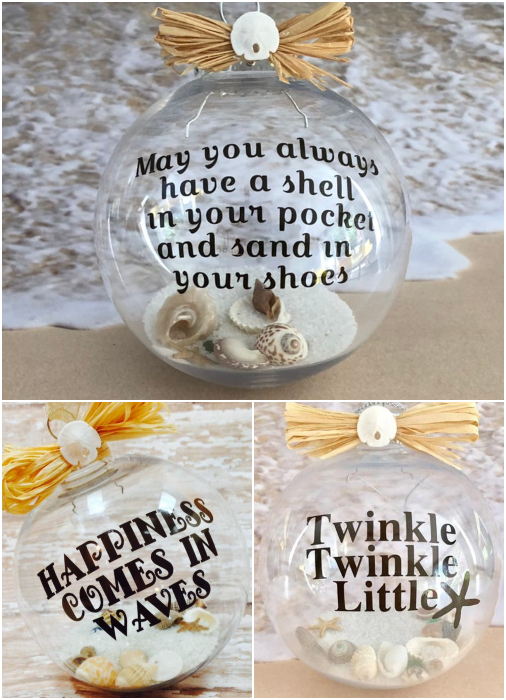 Sand Shell Filled Quote Ornament