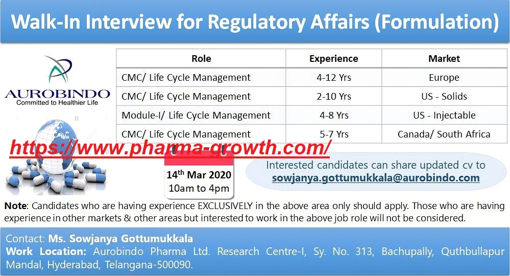 Aurobindo Pharma - Walk in interview for Regulatory Affairs on 14th March 2020