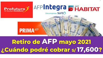 Retiro de AFP, mayo 2021: ¿Cuándo podré cobrar hasta 17 600 soles?