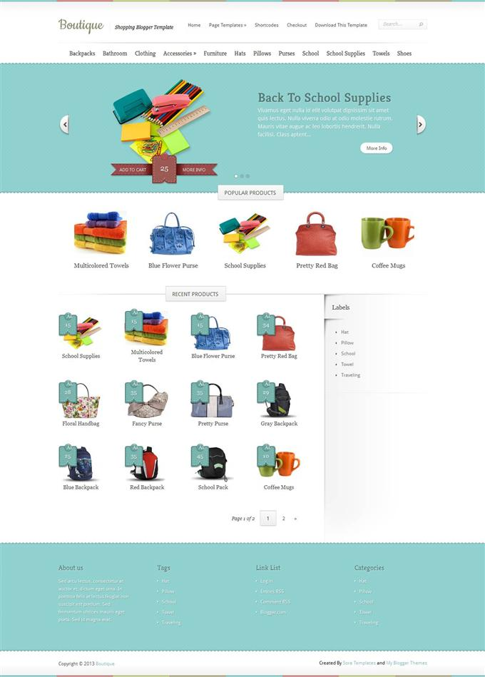 Boutique ecommerce blogger template