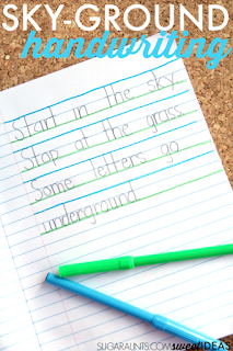 Use the sky ground technique of writing to help kids improve legibility through improved line awareness, letter formation, and letter size.