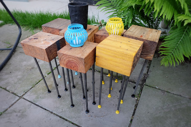 wood block modular freeform table nails