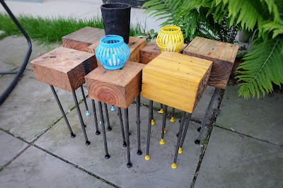 pallet wood block steel nail table movable cute diy