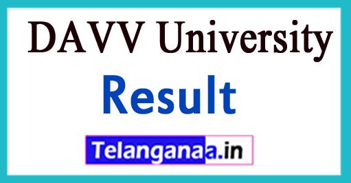DAVV University Result 2018