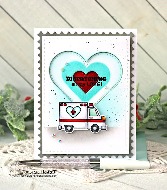 Emergency vehicles Valentine card by Larissa Heskett | Love Emergency Stamp Set, Heart Frames Die Set and Framework Die Set by Newton's Nook Designs
