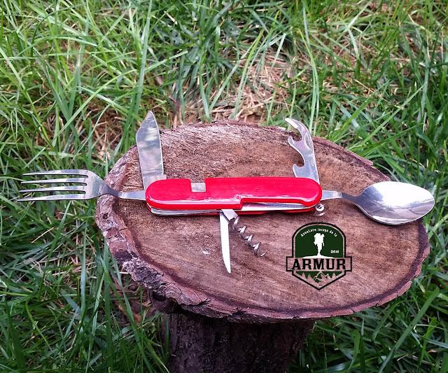 Set tacamuri de buzunar cutit, furculita si lingura pt camping.
