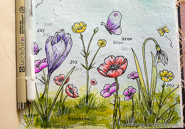 Layers of ink - Thoughtful Flowers Watercolor Garden Tutorial by Anna-Karin Evaldsson. Add details.
