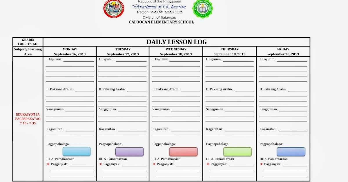 Daily Lesson Log Template - Apigram.Com