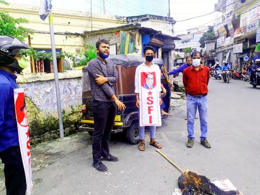 SFI burnt effigy of BJP MLA