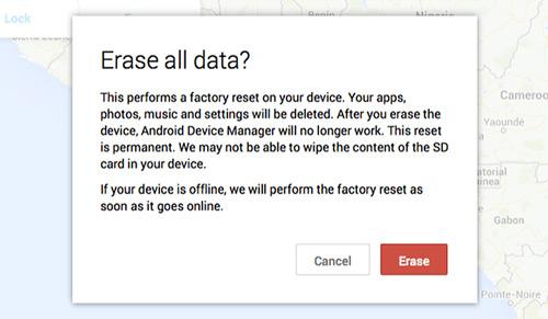 حذف البيانات من جهازك المسروق