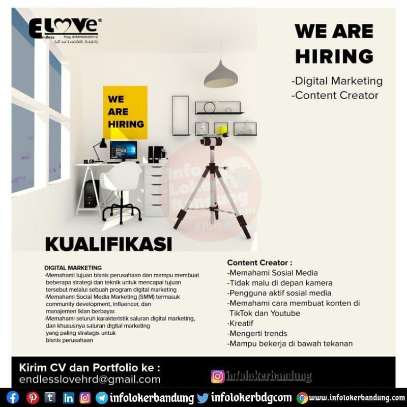 Lowongan Kerja Digital Marketing & Content Creator Endless Love Bedsheet Bandung Mei 2021