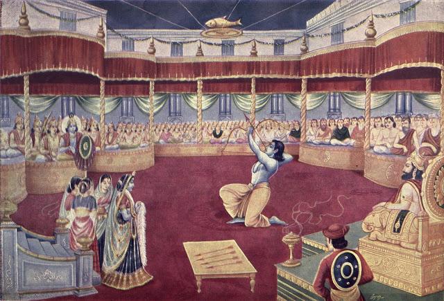Arjuna bending the bow in the swayamvara