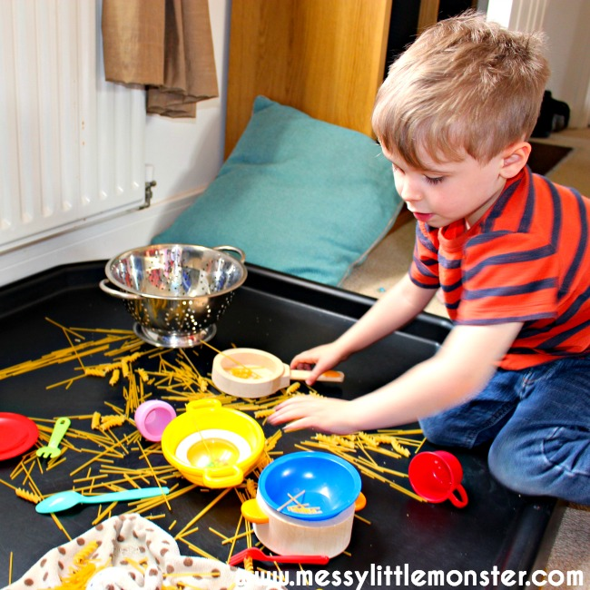 Imaginative play with pasta and spaghetti for kids.