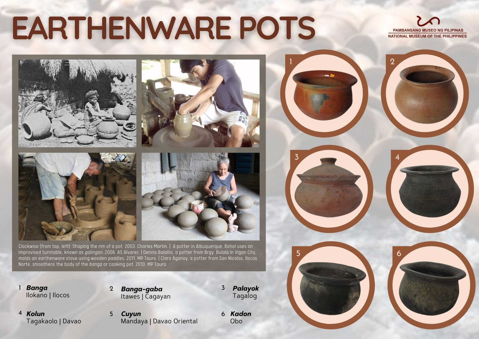 Earthenware pots (palayok in Tagalog, banga/tayab in Ilokano, kolun in Bisaya, kurey in Teduray)