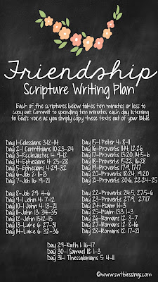 Sweet Blessings May Scripture Writing Plan Friendship