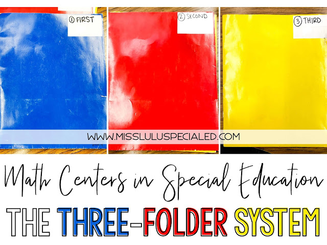 The three folder system for math centers in special education