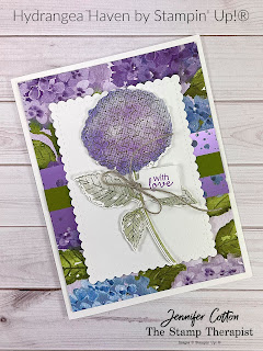 This card with Stampin' Up!'s Hydrangea Haven Bundle uses a sponge to get two colors on the flower.  Check out the video for full instructions, and the measuremennts and supply list is on the blog.  #StampinUp #StampTherapist #HydrangeaHaven