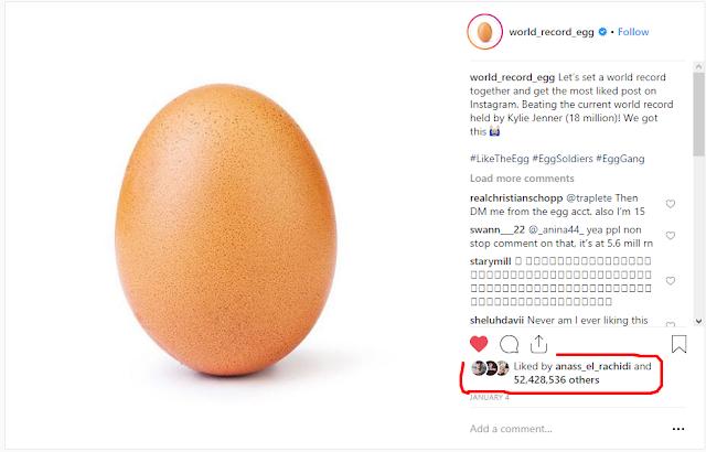 البيضة الأكثر إعجابا على انستغرام