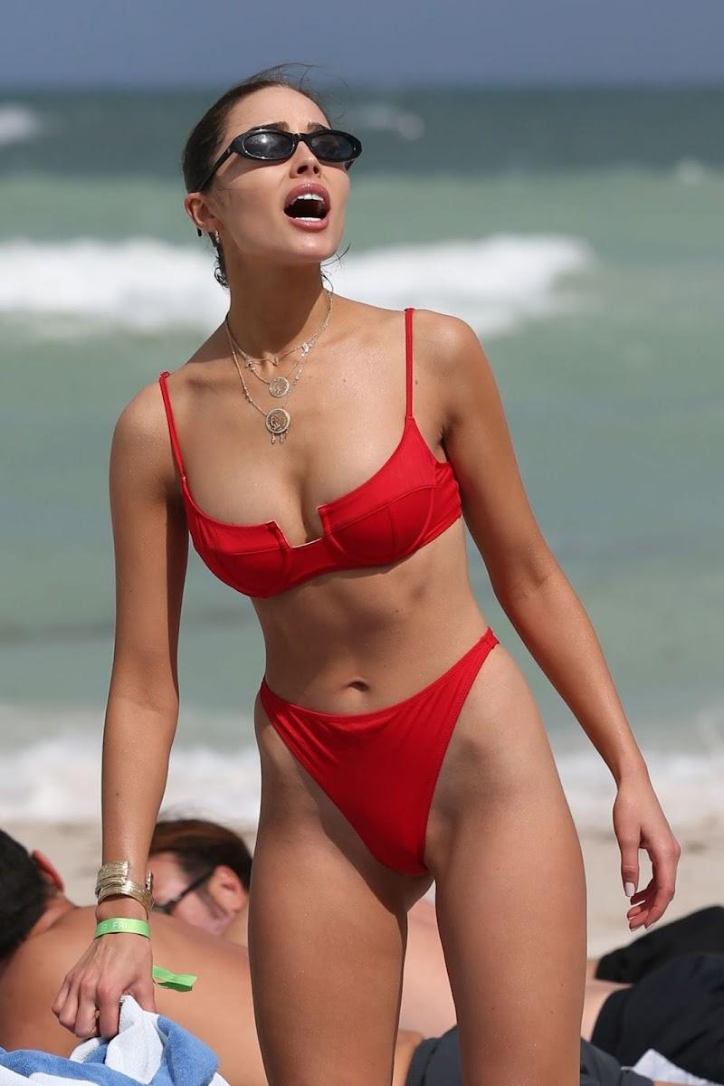 Olivia Culpo Clicked in a Red Bikini at a Beach in St Barth 10 JAn-2020