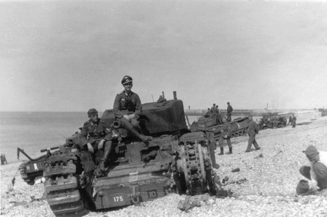 Germans on British Churchill Mk I tanks after the Dieppe raid worldwartwo.filminspector.com