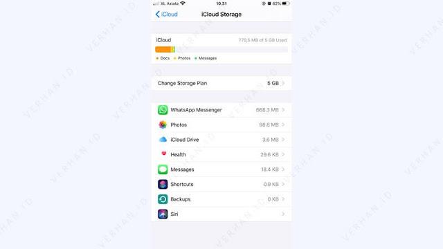 data aplikasi yang membuat icloud iphone penuh