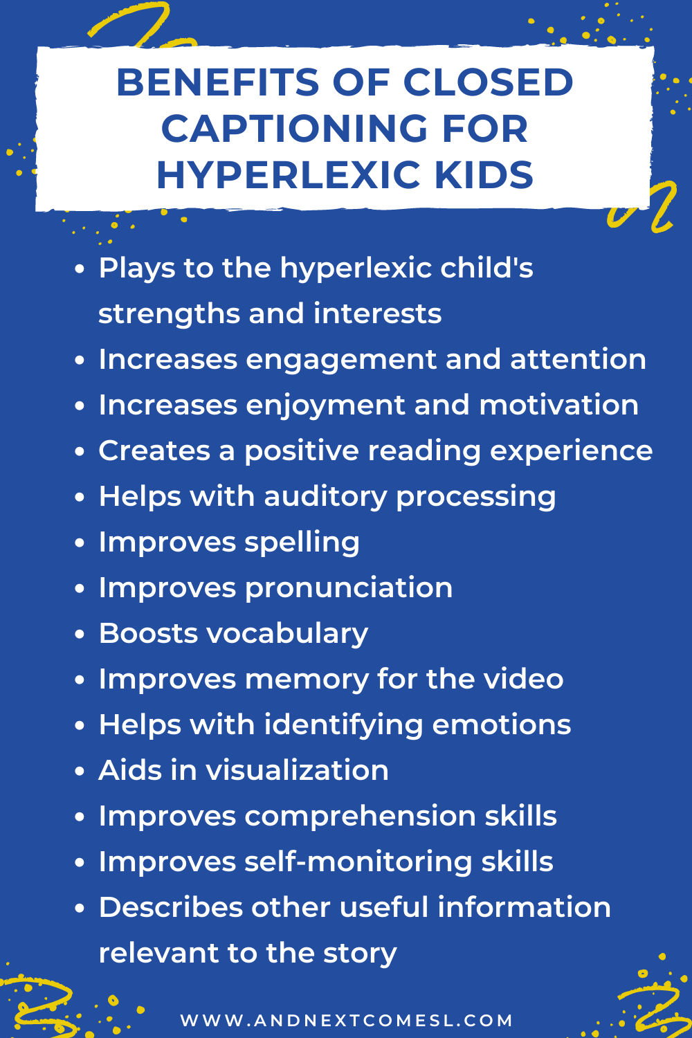 A list of the benefits of closed captioning and reading subtitles for hyperlexic kids