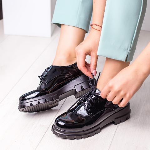Pantofi cassual fashion negri de dama din piele lacuita eco