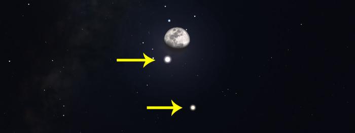 encontro lua jupiter e saturno