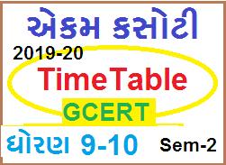 Ekam Kasoti Timetable std 9-10