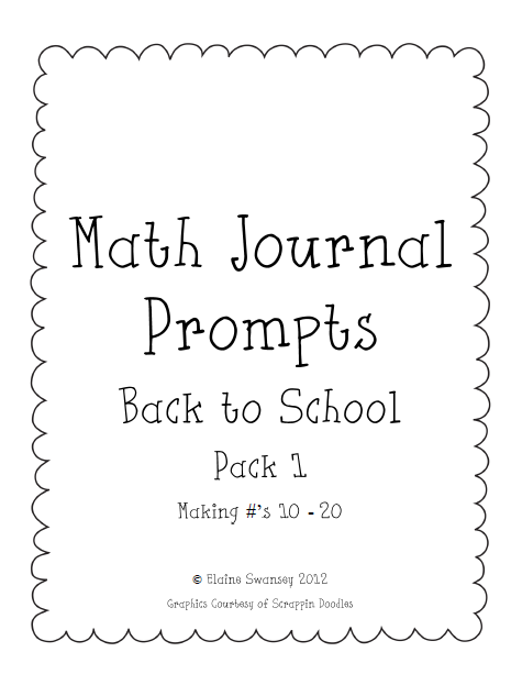 Life in First: Math Journal Pack FREEBIE #1