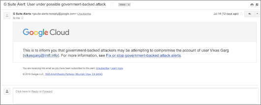 G Suite Updates Blog: Alerts for government-backed attacks to be sent by default starting October 10th
