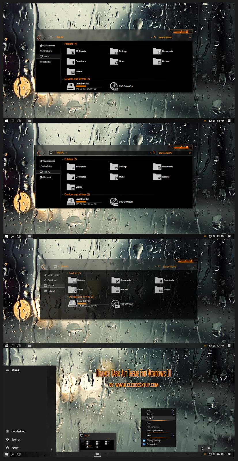 Orange Dark Alt Aero Theme Windows10 November 2019 Update 1909
