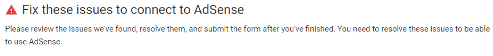 Fix adsense issue messages