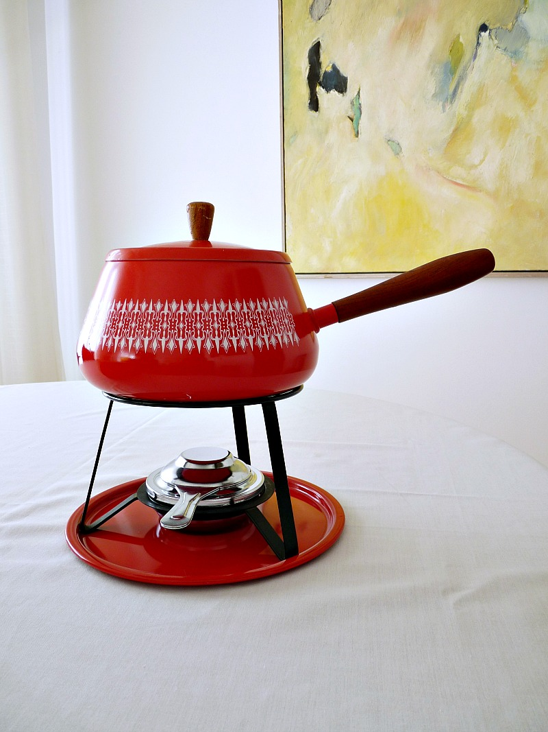 Red and white fondue pot