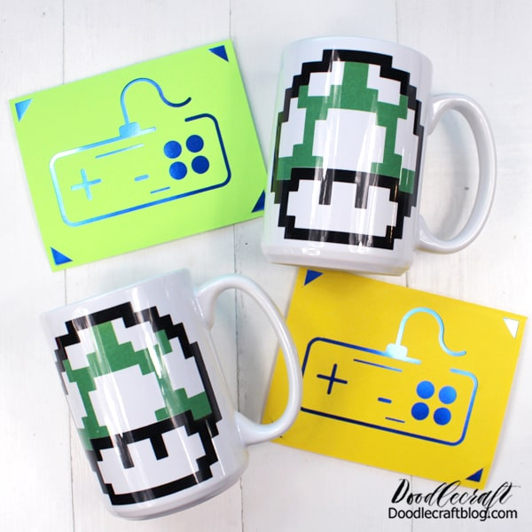 Need a handmade gift for a video gamer? Get old school with these fun crafts made using the Cricut. Make an 8-bit 1-up Mushroom mug using Infusible Ink Transfers and an old school controller insert card.