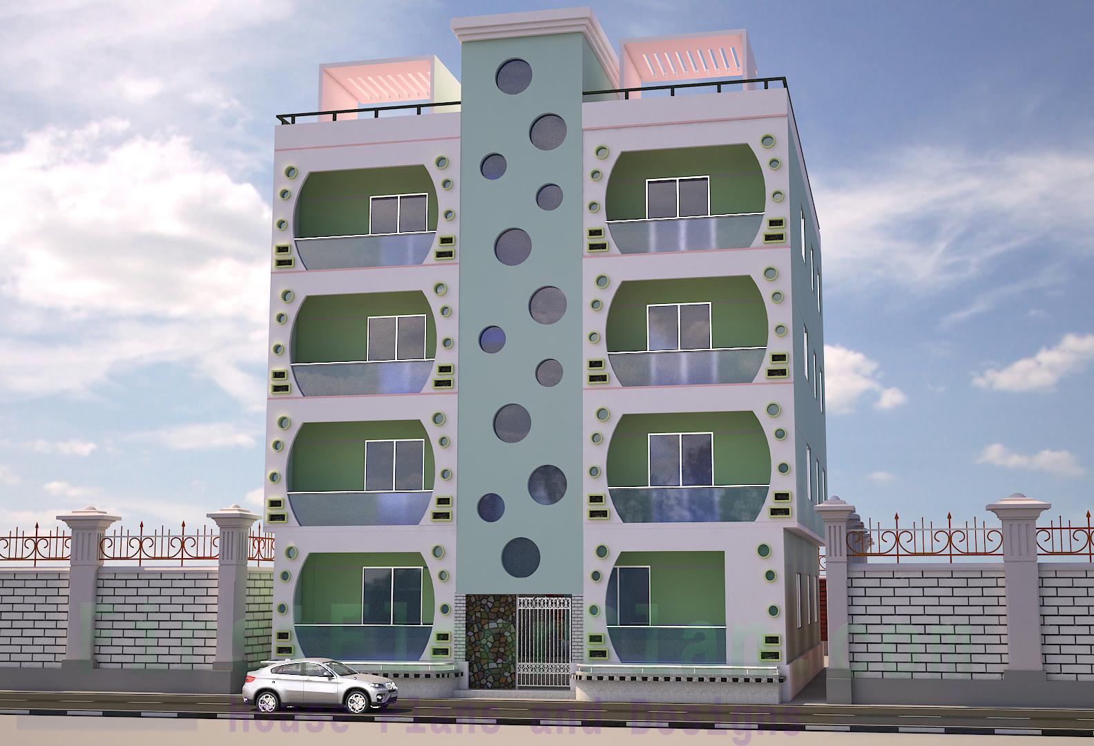 4 storey building Front Elevation 3D