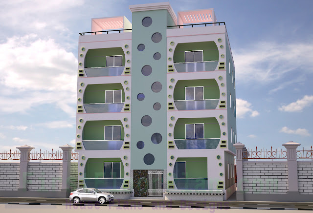 4 storey building Front Elevation 3D