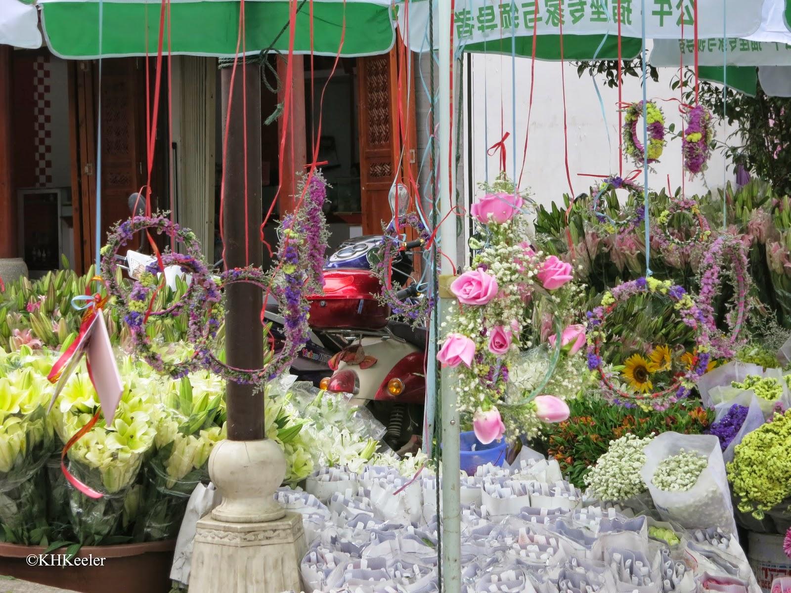 flower vendor, ancient city, Dali, China