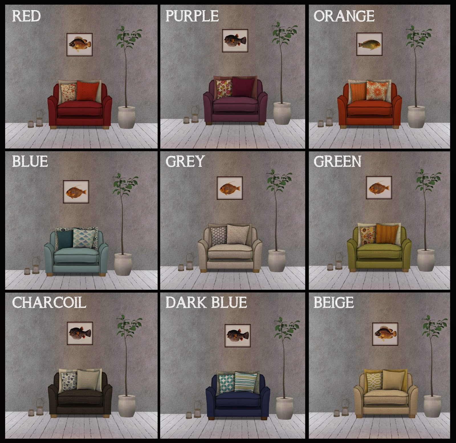 Marie's Sims: Sims in Paris Living room 7 Set Recolours