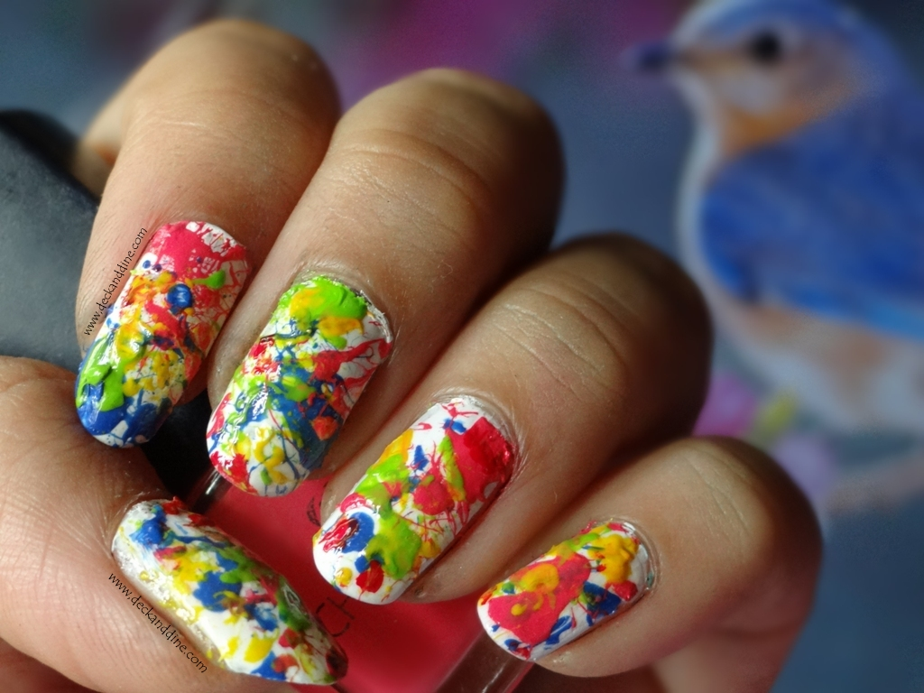Splatter nail art tutorial deck and dine i created this nail art a day before holi and i felt ohh my this is so colorful this is so holi well i couldnt upload this tutorial then prinsesfo Image collections