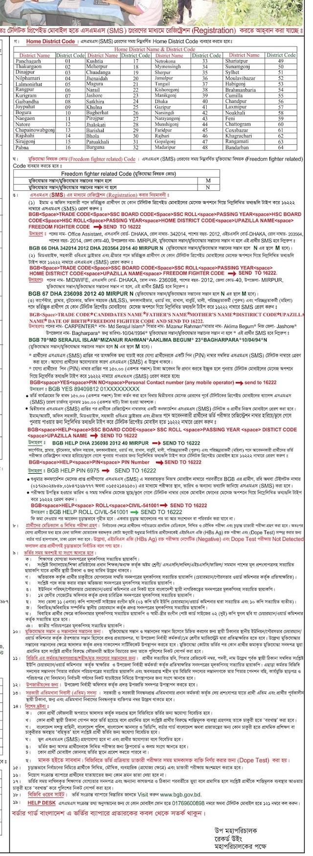 বর্ডার গার্ড বাংলাদেশ (বিজিবি) এর অসামরিক বিভিন্ন পদে নিয়োগ বিজ্ঞপ্তি ২০২০