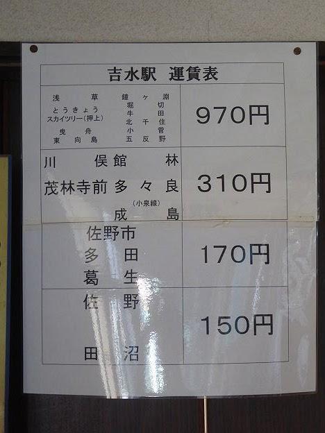 東武佐野線 吉水駅 運賃表 消費税8%時代