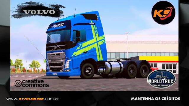 VOLVO FH16 750 - PERFORMANCE EDITION AZUL COM FAIXAS VERDES