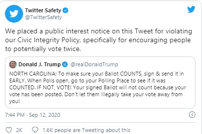 "Still, Twitter said, ""This post is to be flagged in violation of our Civic Integrity Policy, especially to encourage people to vote twice as much as possible."""
