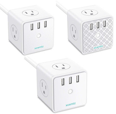 Three Xcentz Cube Power Strips with USB Ports