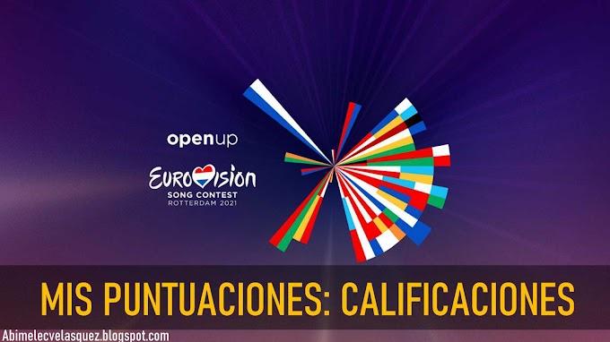 MIS PUNTUACIONES: EUROVISIÓN 2021 CALIFICACIONES